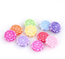 250 Mixed Acrylic Round Flower Beads 10mm Necklace Bracelet Crafts (l)