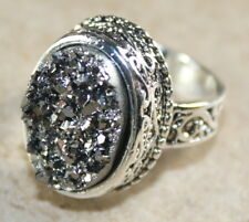 SILVER Vintage Style Silver Gray Titanium Druzy Oval Ring Size 10, WR11105