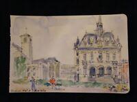 Aquarelle Vincennes Hotel de Ville André Simon 1926-2014 1995 Artiste Lorrain