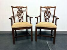 Chippendale Straight Leg Solid Cherry Dining Captain's Armchairs by Cresent Pair