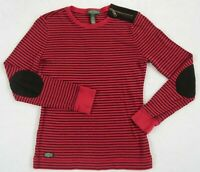 Lauren Jeans Ralph Lauren Women's L/S Crew Neck Red Striped T Shirt - Petite S