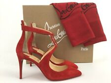 293f7c749a32 Christian Louboutin Rosas Ankle Strap Red Suede Pointy Toe Pump 34 4