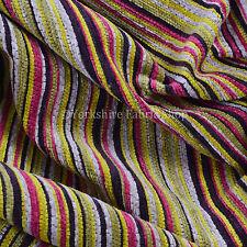 Soft Textured Stripe Pattern Upholstery Curtain Cushion Purple Pink Green Fabric