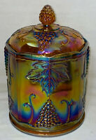 """Indiana * HARVEST GRAPES*MARIGOLD AMBER CARNIVAL* 9"""" LARGE CANISTER W/LID*"""