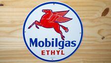 VINTAGE MOBIL PORCELAIN SIGN PEGASUS GAS OIL PUMP PLATE SERVICE STATION RARE NR