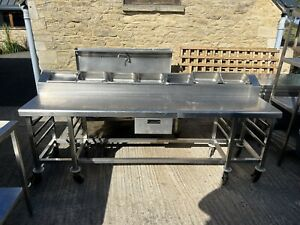 Stainless Steel Commercial Prep Table with Gastro Holder (2.4m) Read Description