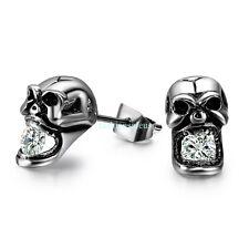 2PC Unisex Skull Stainless Steel Stud Earrings Hypoallergenic Personality Styles