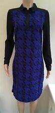 M&S Blue Black Shirt Dress Size 12 Long  #R3