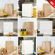 200 Or 250 Case Natural Brown Kraft Or White Paper Shopping Bags With Handle