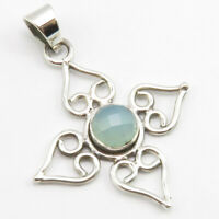 """Sterling Silver Faceted Chalcedony Necklace Pendant 1.7"""" SilverStarJewel Jewelry"""