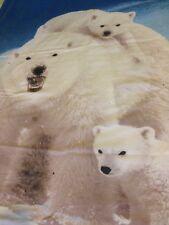 "Photo Real Twin Size Duvet Cover 77 x 52""+ Sham 30"" Polar Bear Family Ice Blue"