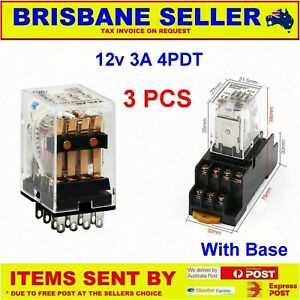 3 x 12v DC RELAY 4PDT - NO NC 3A WITH SCREW MOUNT BASE DIN