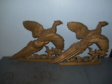 """Vintage Set/2 Cast Aluminum Gold Painted Pheasant Plaque/Wall Decor 14""""  EUC"""