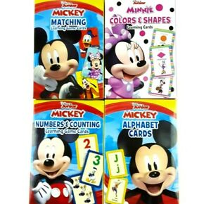 4 Pack Set Disney Junior Mickey and Minnie Mouse Learning Game Flash Cards