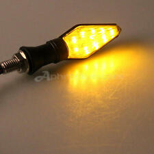 4x Indicatori Luminosi 12 LED Moto Lampada Frecce Luce 9 Giallo + 3 Blu Ricambi