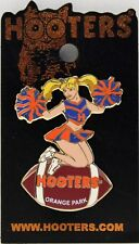 Sexy HOOTERS Girl Cheerleader Football ORANGE PARK Label Pin - Blue/Red
