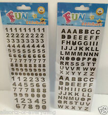 Alphabet Capital Letters or Numbers Self Adhesive Stickers Black Gold Edge