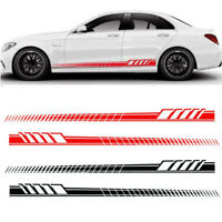 2x Car Side Body Vinyl Decal Sticker Racing Long Stripe Decals Graphics Black #
