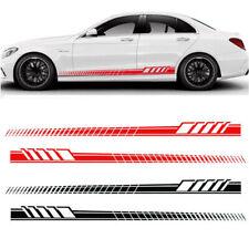 2Pcs Car Side Body Vinyl Decal Sticker Racing Long Stripe Decals Graphics DIY