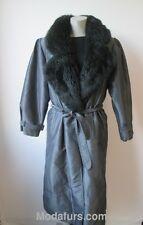 Women's Sz 10 Superb Raincoat with Detachable Opossum Fur Vest Lining