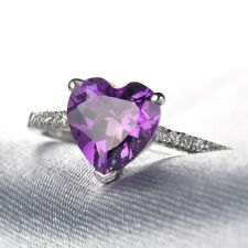 QCNL16 Handmade 2.75CT Natural Amethyst 14K White Gold Ring Size US 7