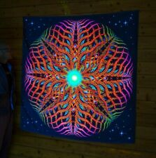 "PSYCHEDELIC TAPESTRY ""Zir""  UV blacklight backdrop, trippy art psychedelic decor"