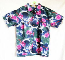 """Boy's loud Hawaiian shirt, for 14 year old, 40"""" chest, blue GUITAR pattern, new"""