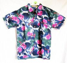 """Boy's loud hawaiian chemise, pour 14 ans, 40 """"poitrine, motif de guitare Bleu, Nouveau"""