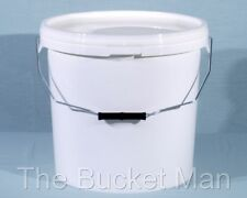 3 x 5 L Ltr Litre White Plastic Buckets Containers with Lids & Metal Handles