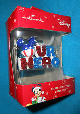 """Hallmark Disney """"Our Hero"""" Mickey Mouse Christmas Holiday Ornament NEW in Box"""