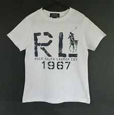 Boy's White Ralph Lauren Polo T-Shirt with Blue Print - Size 6