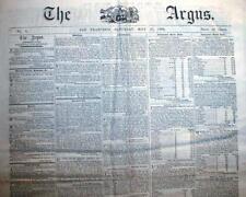"Rare original 1864 San Francisco Civil War newspaper ""The Argus"" CALIFORNIA"