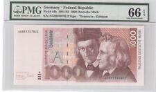 Germany 1000 Mark Banknote 1991-93 Pick# 44b PMG GEM UNC 66 EPQ
