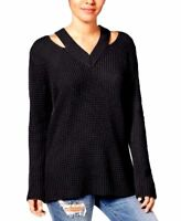Hooked Up by IOT Womens Black Cold Shoulder Knit Sweater V-Neck Size Medium NWT