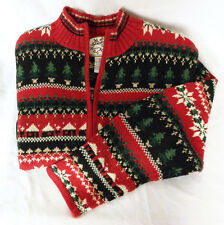 Red Ski Sweater Full Zip Heirloom Collectibles Womens L Scandinavian Xmas Tree