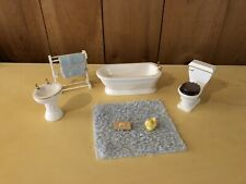 Vintage Dollhouse Furniture Lot - White Bathroom With Accessories