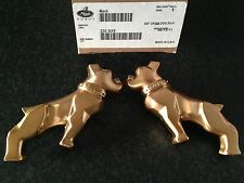 2 X Genuine Mack Trucks Smart Gold Half Bulldog Mirror Emblems Set