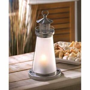 Frosted Lookout Lighthouse Candle Lamp Silver White Lantern Patio House Decor