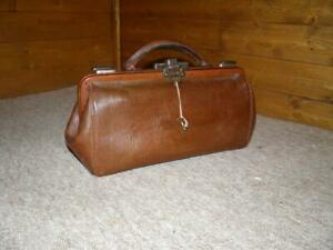 Vintage/Antique Mini Gladstone Bag - English Leather Doctors Bag.