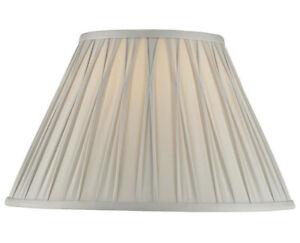 """Brand new Laura Ashley Fenn Silver Silk Pleated lamp shades 14"""" in film. RRP£96"""