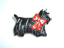Vtg Plastic Scottish Scotty Terrier Dog Black with Bow Animal Brooch Pin Kitsch