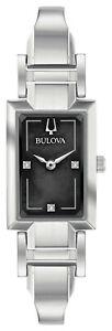 Bulova 96P209 Silver Tone Black MOP Dial Womens Classic Diamond Dress Watch