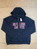 Women's Abercrombie A&F Cozy Full-Zip Graphic Hoodie Medium Navy - New With Tags
