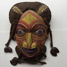 Pendientes tribales bamileke con Cuentas Vestido de cabeza Máscara policromadas africano Camerún