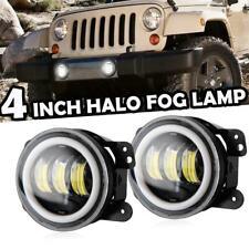 Pair 30W Front Bull Bar LED Fog Lights Halo Angel Eyes Lamp for Jeep Wrangler JK