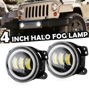 Pair 30W Front Bull Bar LED Fog Lights Angel Eyes Lamp Fits for Jeep Wrangler JK