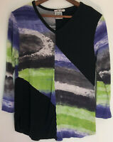Parsley & Sage Knit Top Small S Art To Wear Patchwork Shirt Black Purple V Neck