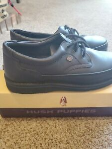 HUSH PUPPIES The Body Shoe Mall Walker Black Leather Oxfords Mens Size 11.5 E