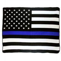 Police Thin Blue Line Super Soft Micro Raschel Fleece Throw Blanket (New)