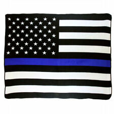Police Thin Blue Line Super Soft Micro Raschel Fleece Throw Blanket (New)